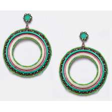 Colored Ring Hoops (Aquamarine/Pink)