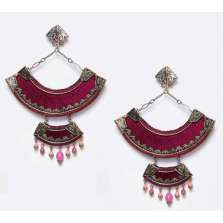 Burgundy Fan-Shaped Earrings