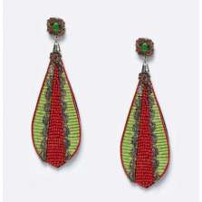 Red and Green Drop Earrings