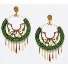 Gold Drips Hoops (Green)