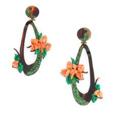 Coral Flower Tortoiseshell Earrings