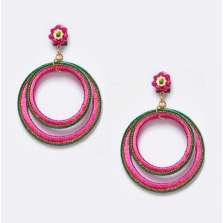Double Hoop Earrings (Fuchsia)