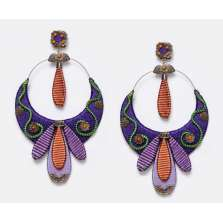 Purple, Green and Orange Earrings