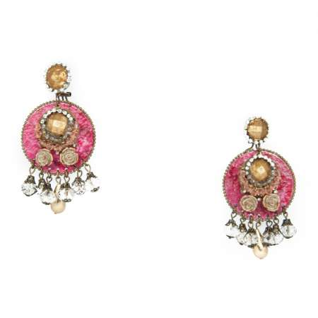 flower en spanish earrings fuschia flamenco